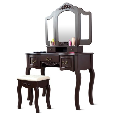 Gymax Bathroom Makeup Vanity Dressing Table Set With Stool Tri-folding Brown 5 Drawers