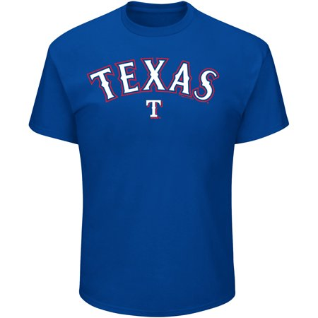 Men's Majestic Royal Texas Rangers Bigger Series Sweep T-Shirt - Ranger De Texas