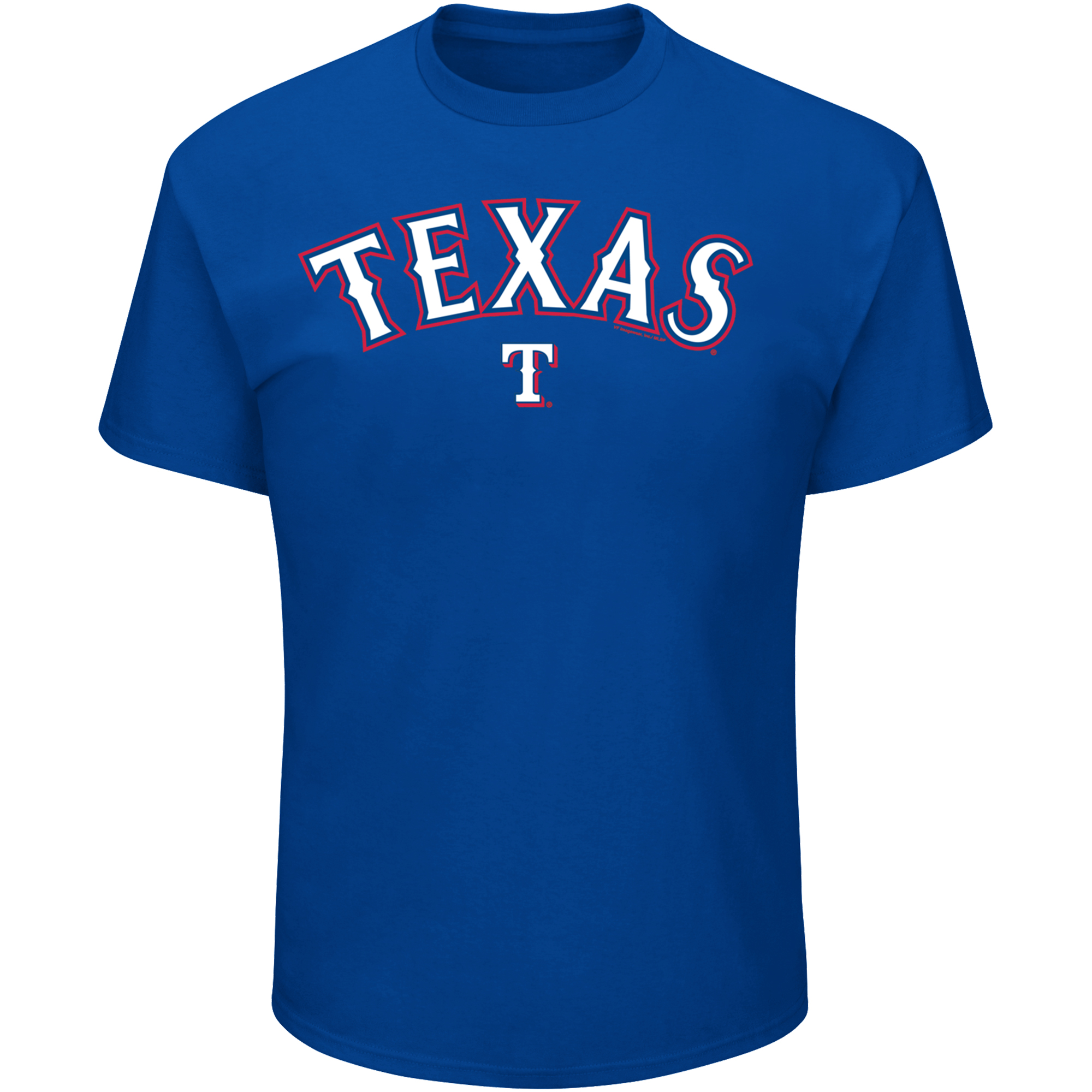 Men's Majestic Royal Texas Rangers Bigger Series Sweep T-Shirt