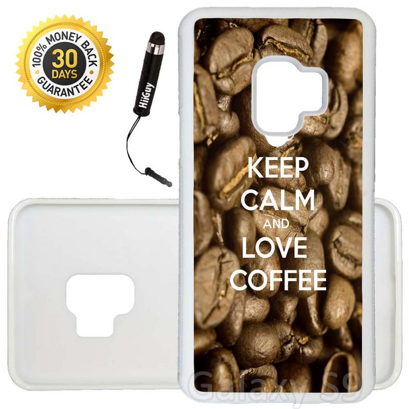 Custom Galaxy S9 Case (Keep Calm Love Coffee) Edge-to-Edge Rubber White Cover Ultra Slim | Lightweight | Includes Stylus Pen by Innosub