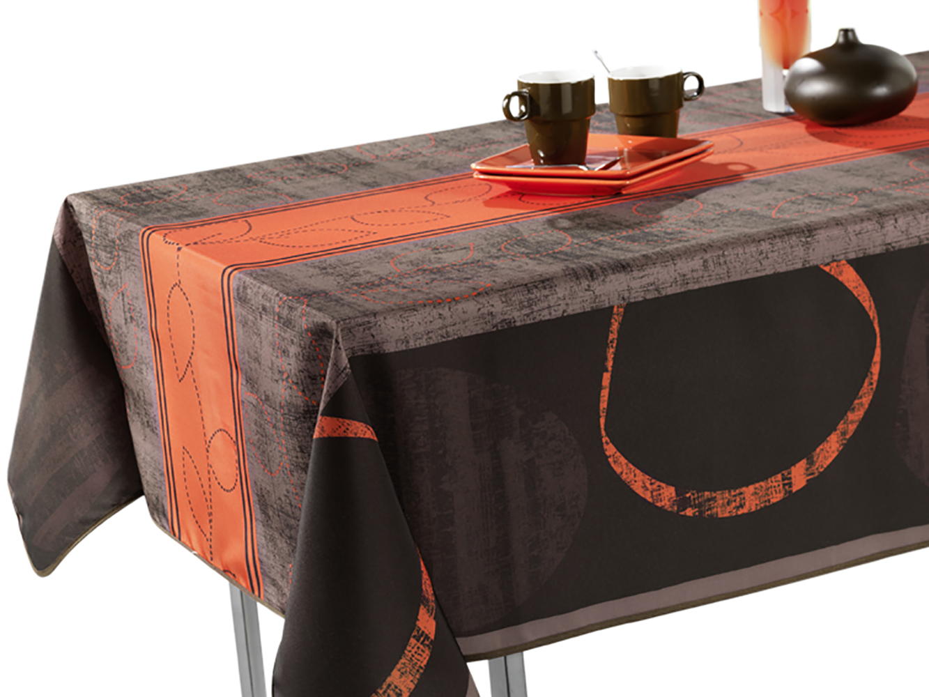 60 X 80 Inch Rectangular Tablecloth Grey And Brown Modern Orange