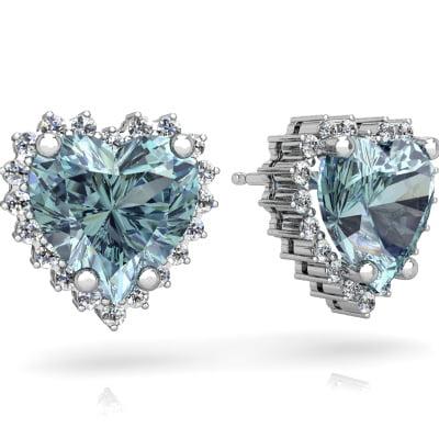 Aquamarine Halo Heart Earrings In 14k White Gold