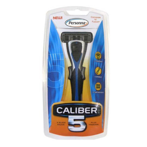 Personna Caliber5 Mens 5-Blade Razor With 2 Cartridges - 1 Ea