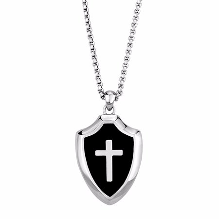 Lanyjewelry Mens Templar Knights Stainless Steel Cross Shield Pendant Necklace