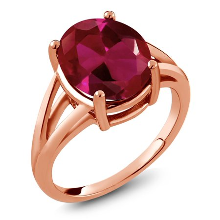 - 5.00 Ct Oval Red Created Ruby 18K Rose Gold Plated Silver Ring