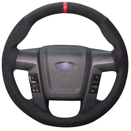 Loncky Black Suede Steering Wheel Cover for Ford F-150 F150 SVT Raptor 2010 2011 2012 2013