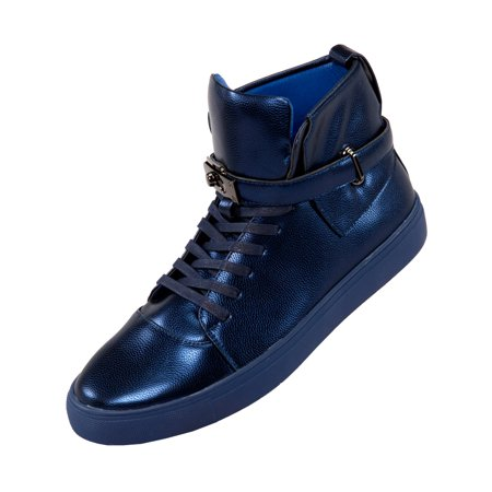 Sio Mens High Top Designer Lace-up Sneaker, Metallic Pebble Grain Upper with Black Slide Buckle and Strap Available in Navy, and Silver