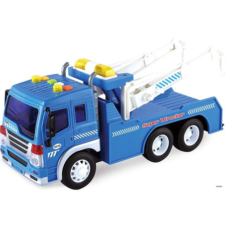 Memtes Friction Powered Wrecker Tow Truck Toy with Lights and Sound for - Kids Light Toys