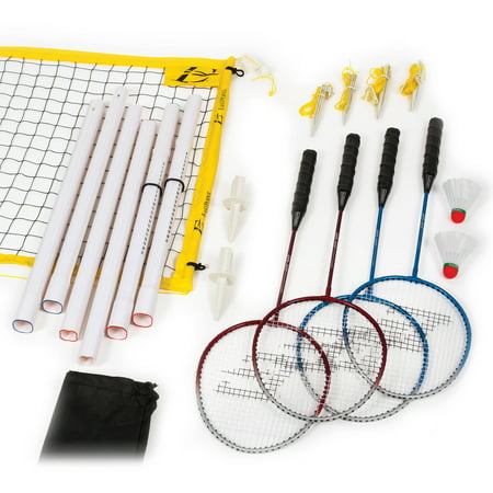 Sporting Goods Sweet-Tempered Vtg Complete Badminton 4 Player Set Metal Poles Instructions And Net Tennis & Racquet Sports