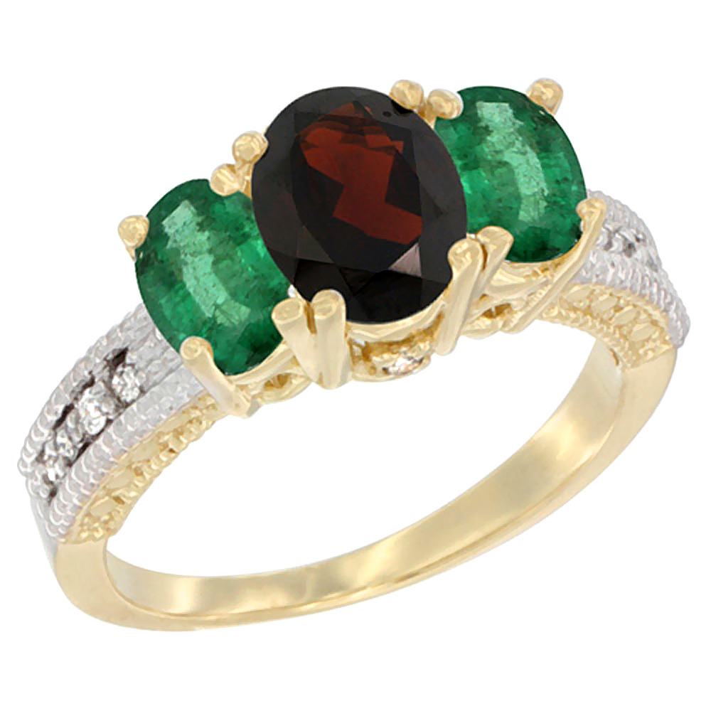 10K Yellow Gold Diamond Natural Garnet Ring Oval 3-stone with Emerald, sizes 5 10 by WorldJewels