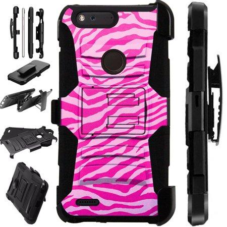For ZTE Blade X Case Hybrid Phone Cover LuxGuard Holster (Light Pink Zebra Skin)