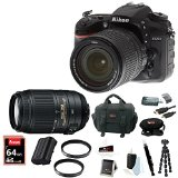 Nikon D7200 DSLR Camera (Black) with 18-140mm+ 55-300MM VR Nikkor Zoom Lenses + 64GB Deluxe Accessory Kit by Nikon
