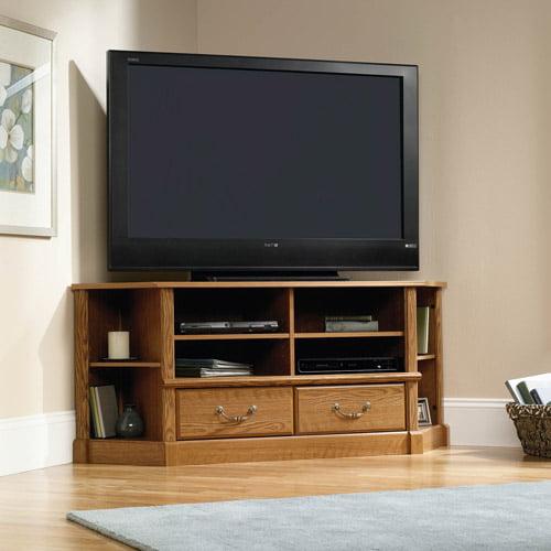 """Sauder Orchard Hills Corner Entertainment Credenza, for TVs up to 60"""", Carolina Oak"""