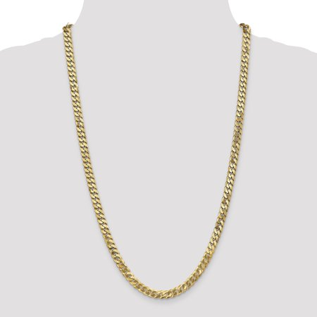 14K Yellow Gold 6.1mm Solid Polished Flat Curb Chain Anklet 9 Inch - image 4 de 4