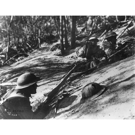 World War I Hill 240N1918 American Soldiers Advance Up The Slopes Of Hill 240 During The Meuse Argonne Offensive Argonne Forest France Photograph 1918 Rolled Canvas Art     18 X 24