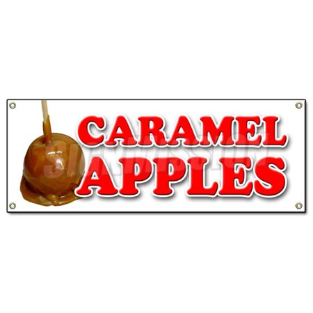 CARAMEL APPLES BANNER SIGN candy apple cart signs fresh candy fruit produce](Caramel Apples Halloween)