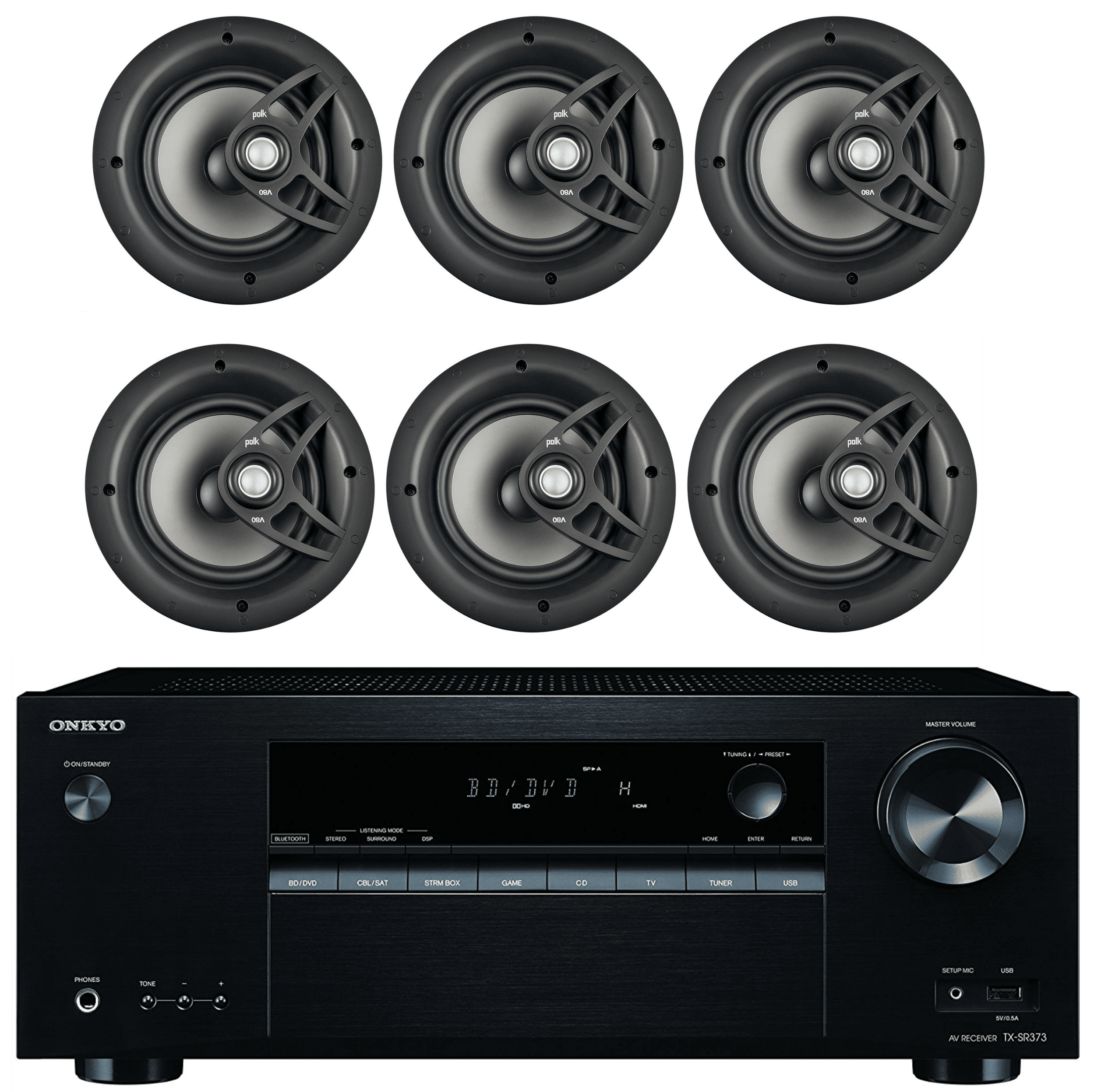 "Onkyo 5.2 Channel Full 4K Bluetooth AV Home Theater Receiver + Polk 8"" 2 Way High-Performance Natural Surround... by Onkyo"