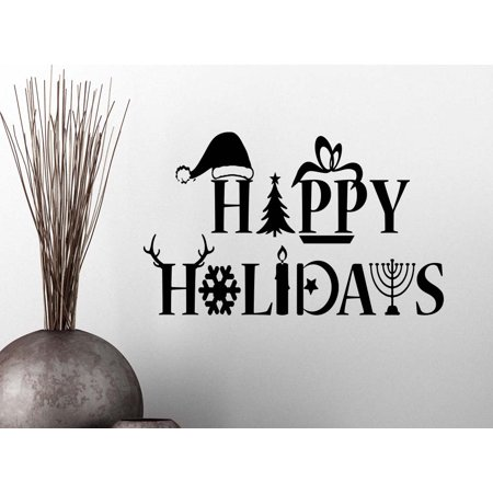 Happy Holidays - Christmas Chanukah Kwanza Snowflake Door Welcome wall art lettering sign room decor](Hanukkah Decor)