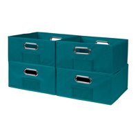 Collapsible Home Storage Set of 4 Foldable Fabric Low Storage Bins- Teal