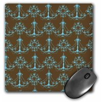 3dRose Chic Blue and Brown Chandeliers, Mouse Pad, 8 by 8 inches