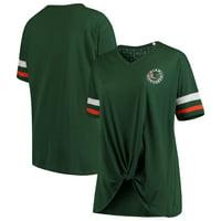 Miami Hurricanes Pressbox Women's Plus Size Knotted Hem V-Neck T-Shirt - Green