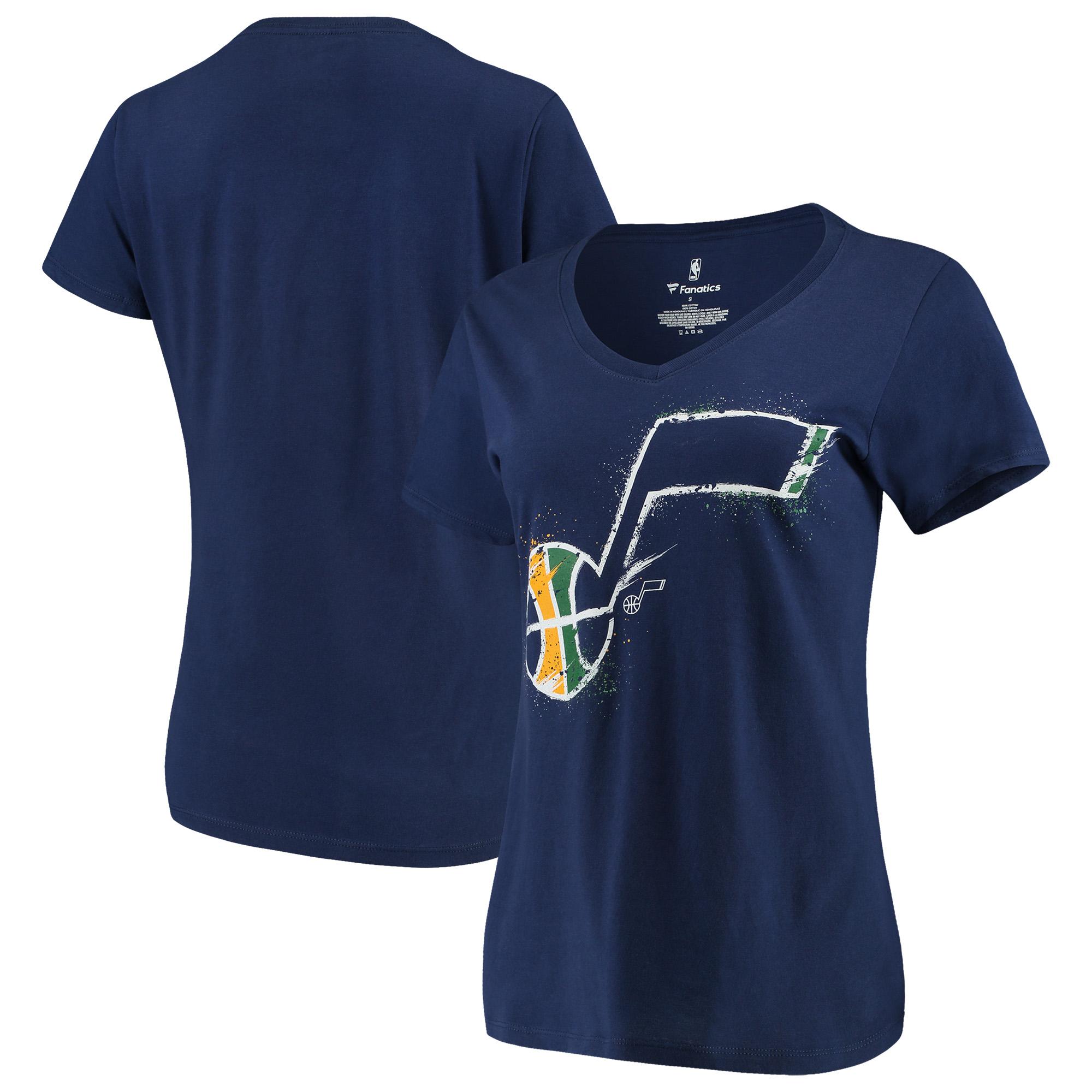 Utah Jazz Fanatics Branded Women's Splatter Logo V-Neck T-Shirt - Navy