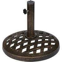 Cast Iron Umbrella Base - 17.7 Inch Diameter by Trademark Innovations (Bronze Finish)