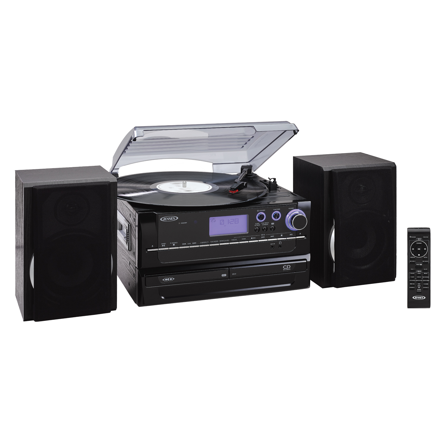 Jensen JTA-980 3-Speed Turntable 2-CD System with Cassette and AM FM Stereo Radio by Jensen