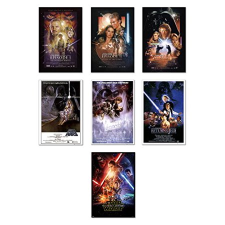 Star Wars: Episode I, II, III, IV, V, VI & VII - Movie Poster Set (7 Individual Full Size Movie Posters) (Size: 24