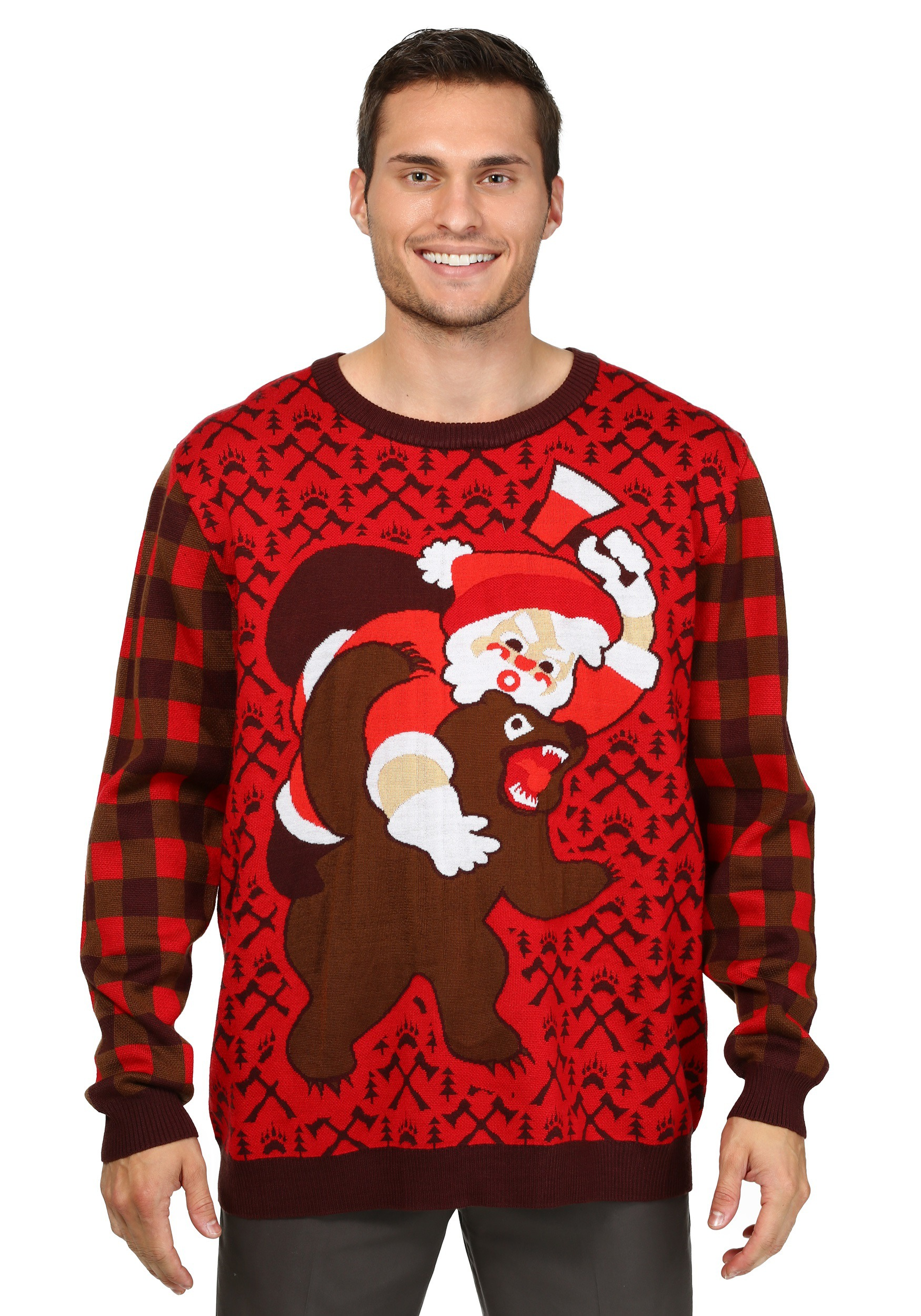 Christmas Sweater.Santa Vs Bear Ugly Christmas Sweater