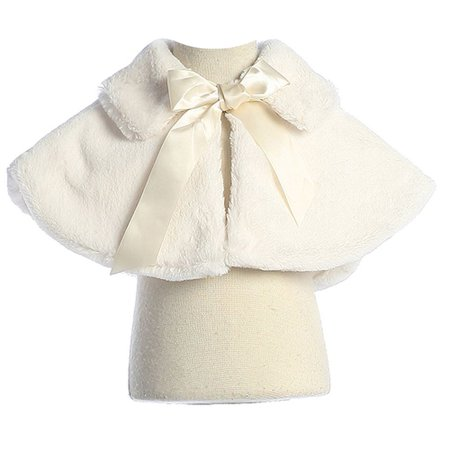 Sweet Kids Girls Ivory Fluffy Faux Ribbon Closure Cape 8-12 (Girls Cape)