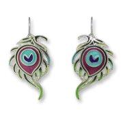 Zarah 32-12-Z1 Peacock Feather Ultrafine Silver Plate Earrings