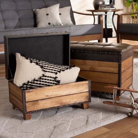 Baxton Studio Marelli Rustic Dark Brown Faux Leather Upholstered 2-Piece Wood Storage Trunk Ottoman Set