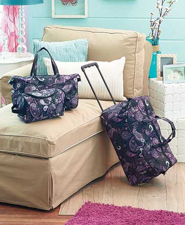 3-Pc. Geo-Circles Purple Luggage Sets (Black Paisley)