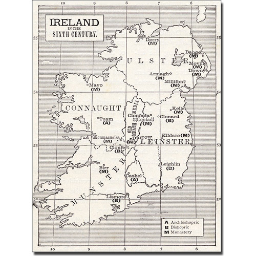 Trademark Art 'Map of Ireland in the Sixth Century' Canvas Art