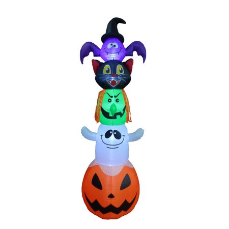 BZB Goods Halloween Inflatable Stacked Bat, Black Cat, Witch, Ghost, and Pumpkin