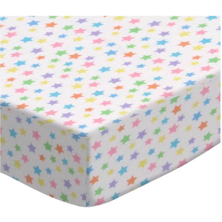 SheetWorld Fitted Oval Crib Sheet (Stokke Sleepi) - Pastel Colorful Stars Woven