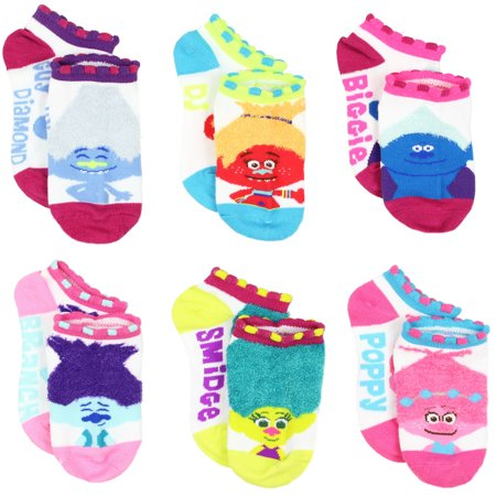 Trolls Movie Girls Teen Womens 6 pk Socks TP027GNS (Toddler/Little Kid/Big Kid) - Teen Socks