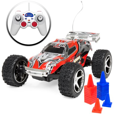 Best Choice Products 1/32 Scale Small 4WD High Speed 18 MPH Remote Control Racing Car w/ Rechargeable Battery, USB Charger, High Frequency - Red