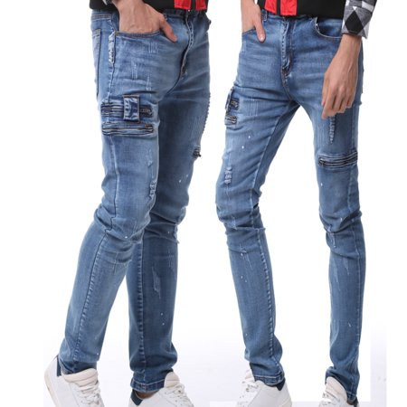 bf51768475c3 Men's Ripped Jeans Black Slim Fit Motorcycle Jeans Men Vintage Distressed Denim  Jeans Pants - Walmart.com