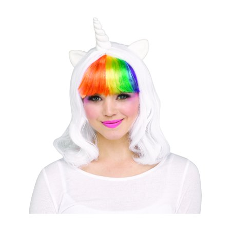 Womens Rainbow Unicorn Wig With Horns And Ears Costume - Wig Costume