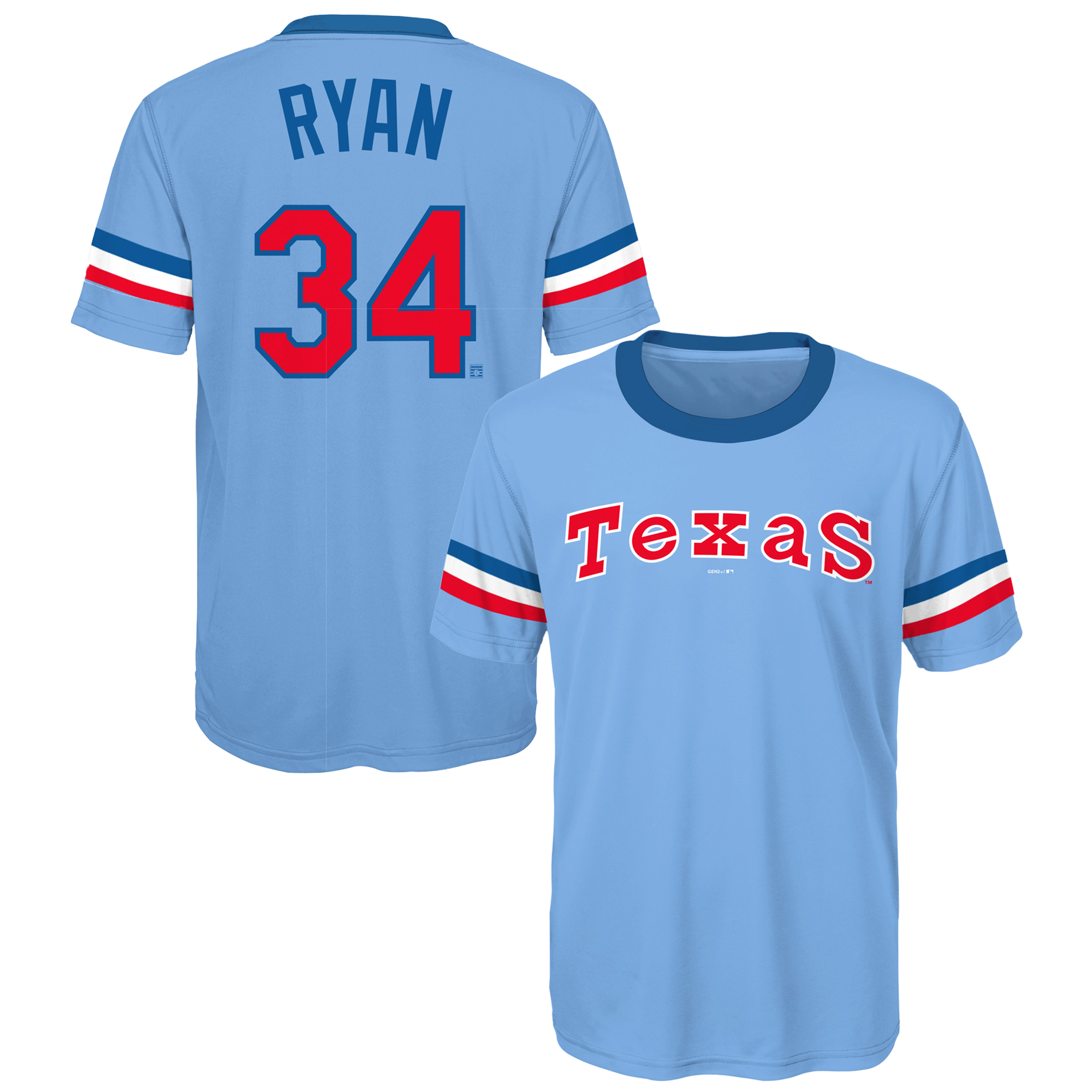 Nolan Ryan Texas Rangers Youth Cooperstown Player Sublimated Jersey Top - Light Blue