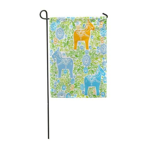 SIDONKU Dalecarlian Dala Horse Traditional Wooden Statuette Originating in Swedish Garden Flag Decorative Flag House Banner 28x40 inch