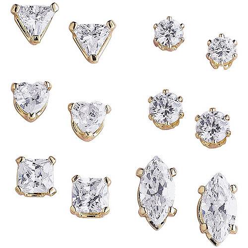 10.14 Carat T.G.W. CZ 14kt Gold-Plated Pierced Earrings, 6 Pairs