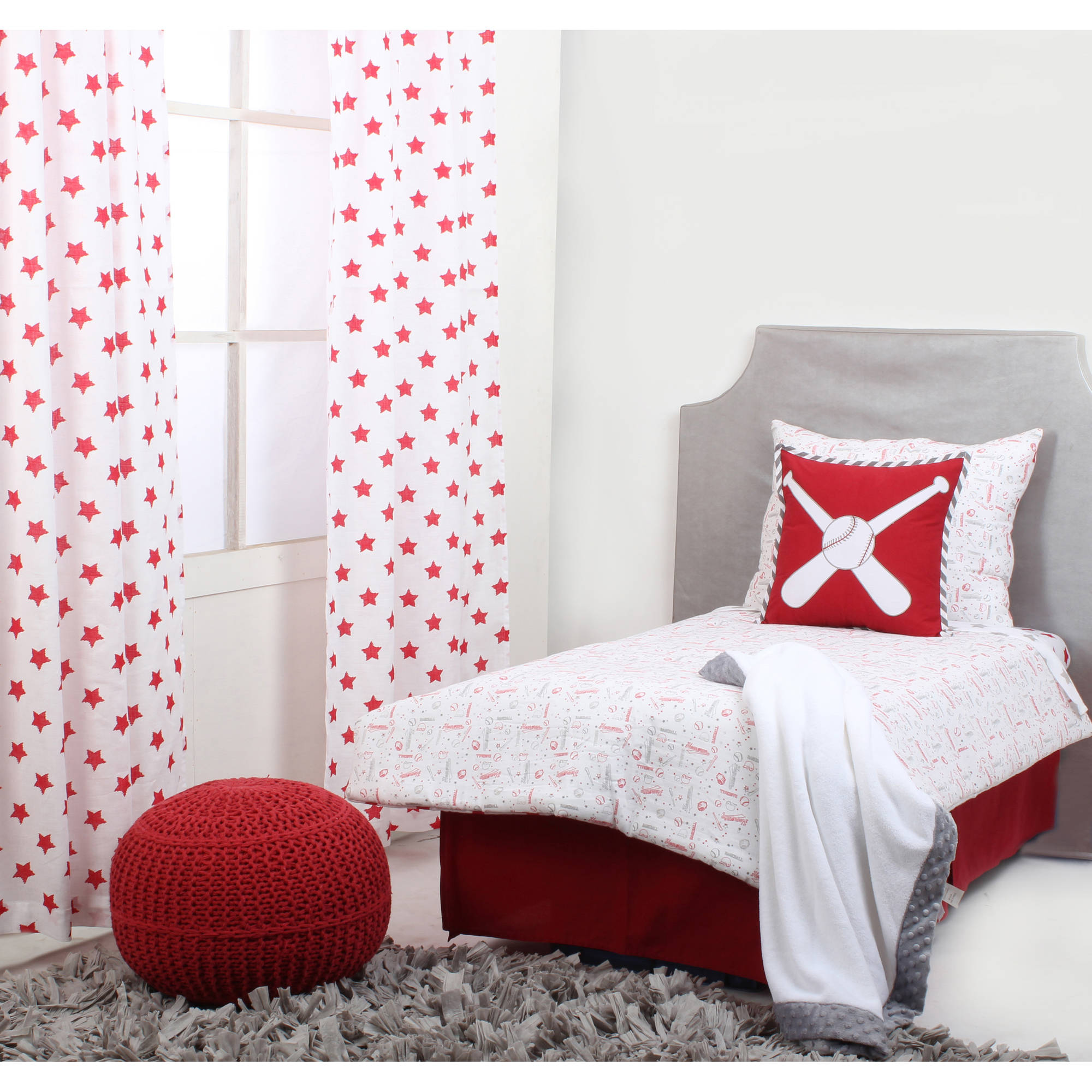 Bacati - Sports 100% Cotton Muslin 4-Piece Toddler Bedding Set, Baseball Red/Grey