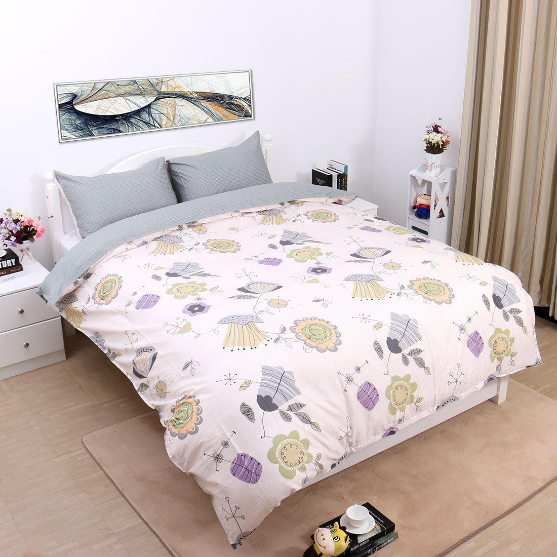 Flower Pattern 3-Piece Duvet Cover Set Bedding Sets Twin,Double,King,Queen Size