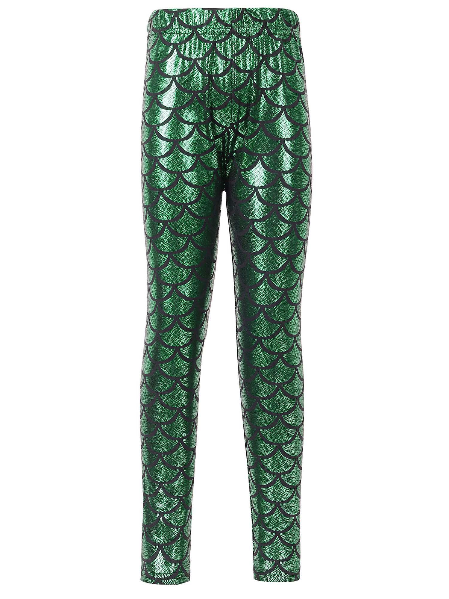 Girls Mermaid Scale Print Full Length Leggings Tight Pants, Blue, S