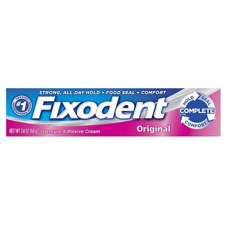 Fixodent Complete Denture Adhesive Cream Original 2.4 oz.(pack of 4)