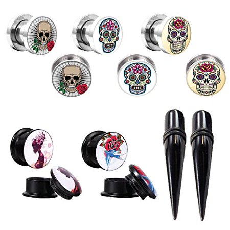 BodyJ4You Gauges Kit Plugs Tapers Ear Stretching Steel Screw Fit Sugar Skull 00G Piercing Jewelry Set 12 Pieces
