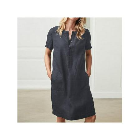V-neck A-line Dress (MarinaVida Women Summer Short Sleeve Linen Dress Loose A-line V-neck Button Dress Sundress)